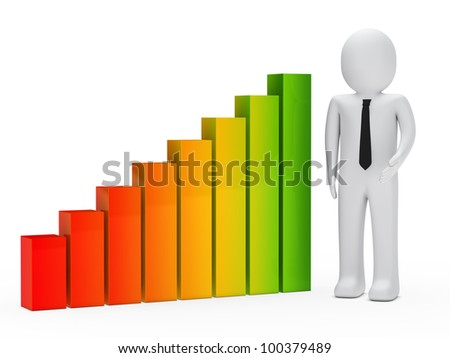 businessman show and stand next a graph
