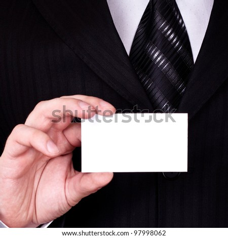 businessman show blank card