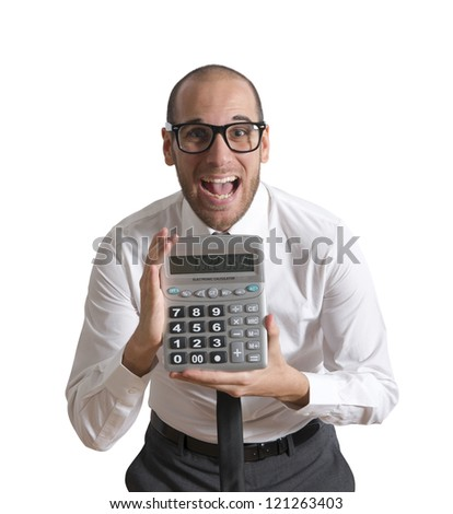 Businessman show calculator with positive value