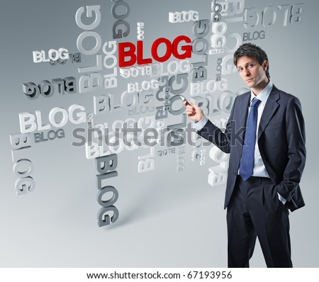 businessman show 3d blog background