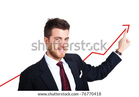 Businessman showing a growing business graph isolated on white