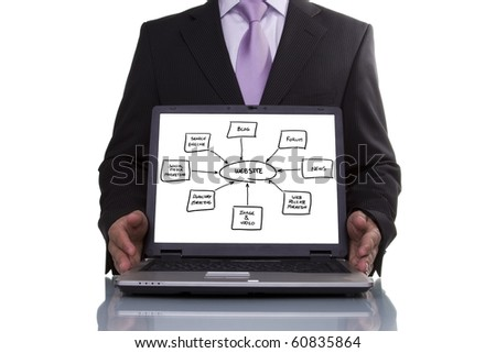 Businessman showing a website diagram  on the laptop