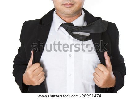Businessman showing a word underneath his suit