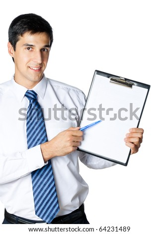 Businessman showing clipboard, isolated on white