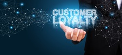 Businessman showing Customer Loyalty. Customer Loyalty concept.