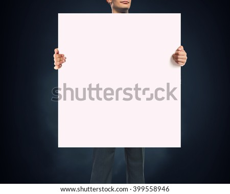 Businessman showing empty banner #399558946