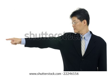 Businessman showing finger on an isolated background