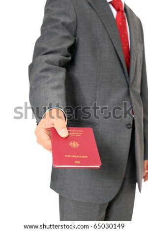 Businessman showing his german passport. All on white background
