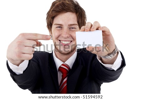 Businessman showing is blank card with copy space (selective and soft focus)