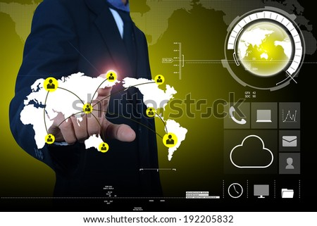 businessman showing social business connection