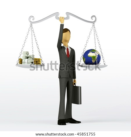 Businessman showing the concept of balance between natural resources and profits