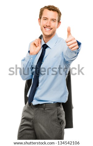 businessman showing thumbs up sign white background