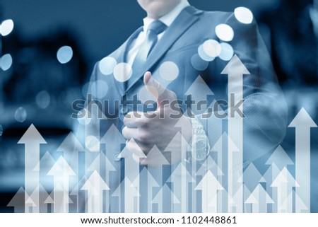 Businessman shows a hand good. The concept of successful promotion and growth.