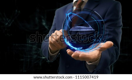 Businessman shows concept hologram Cruise ship on his hand. Man in business suit with future technology screen and modern cosmic background