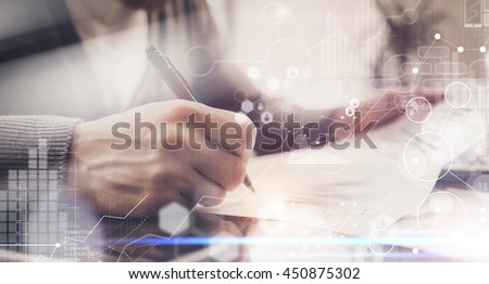 Businessman Signing Contract Pen.Project Manager Researching Process.Business Team Working Startup modern Office.Global Strategy Virtual Icon.Innovation Graphs Interfaces.Analyze market stock.Blurred