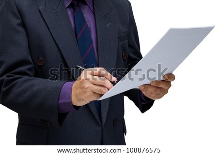 Businessman signing on paper isolated on white background
