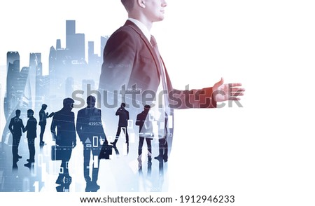 Businessman silhouette in formal suit holds out his hand for a handshake. Corporate culture concept. collegues are on background. Double exposure.