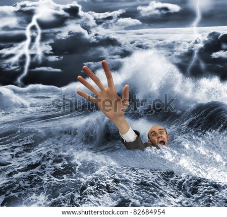 Businessman sinking in dark stormy sea with dramatic sky and lightnings