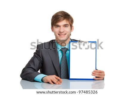 businessman sitting desk holding a blank white board, clipboard, empty board with copy space for text, handsome young business man happy smile, isolated over white background