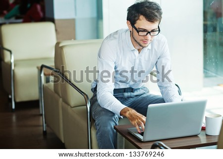 businessman sitting in cafe