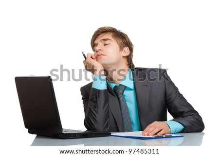 businessman sleep sit at desk with laptop, resting hold hand head sleeping, concept of handsome young business tired day dreaming, isolated over white background