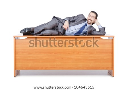 Businessman sleeping at this desk