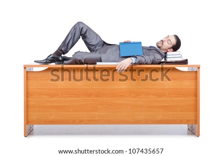 Businessman sleeping at this desk