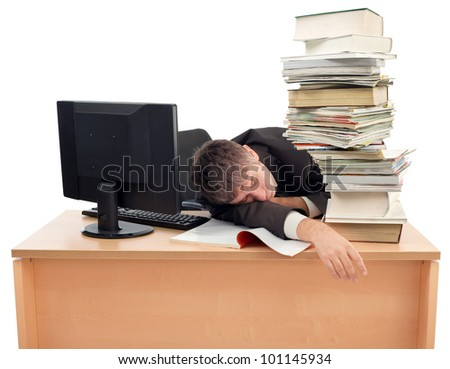 Businessman Sleeping on the Office Desk