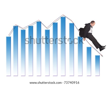 Businessman sliding down upon graph-isolated on white