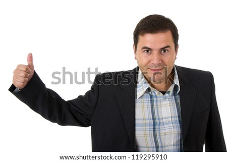 businessman smiling doing the ok sign over a white background - stock photo