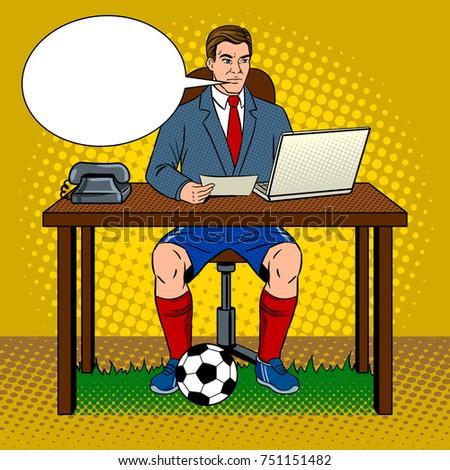 Businessman soccer football player pop art retro raster illustration. Work and rest metaphor. Comic book style imitation.