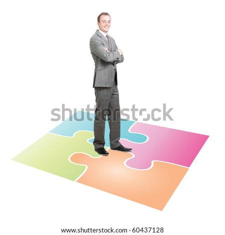 Businessman solving a puzzle