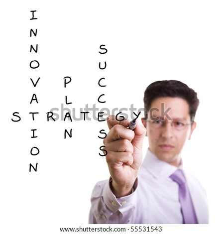 Businessman solving a strategy plan to be successful in his business