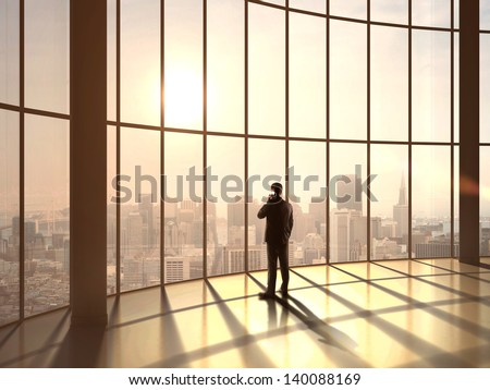 businessman speaking at sunset office #140088169