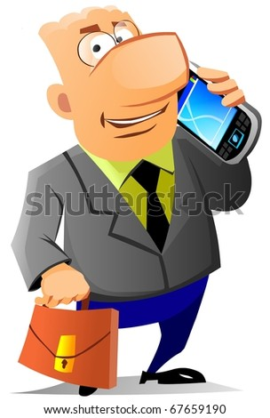 Businessman speaking on mobile phone.