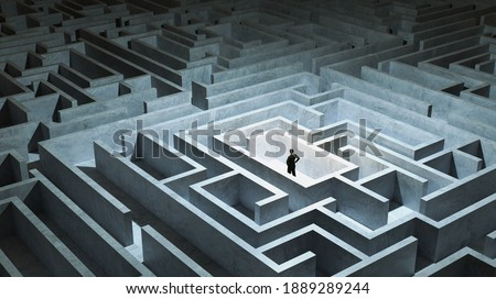 Businessman stand in front of maze entrance. Business problem solving, making decision, finding solution and challenge concept. Photo stock ©