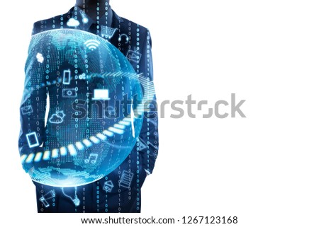 Businessman standing and thinking with graphs, binary, virtual earth . Internet of things concept . Double exposure effects apply . #1267123168