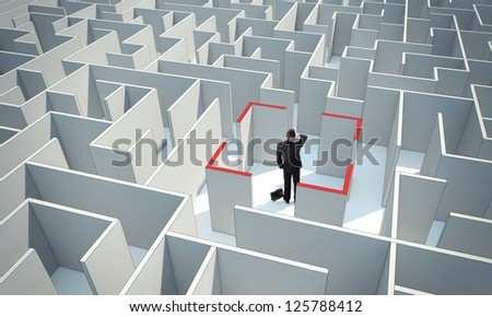 Businessman standing in center of the maze. Make a difficult decision. Achieving the goal. Wide angle. Blueprint. Encounter difficulties. with a stroke.