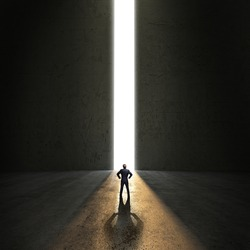 businessman standing in front of a portal