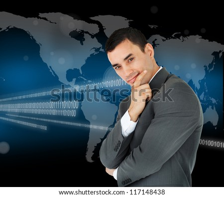 Businessman standing in front of a world map and binary code while smiling