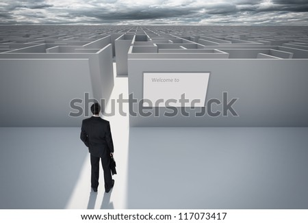 Businessman standing in front of the entrance to the maze. Make a decision. Achieving the goal. With the sign