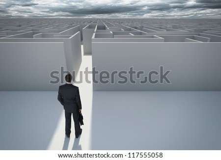 "Businessman standing in front of the entrance to the maze. Make a decision. Achieving the goal. Without the sign ""Welcome"" on the wall. Wide angle. Blueprint. Encounter difficulties"