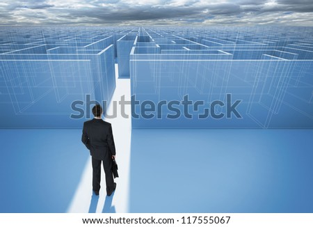 "Businessman standing in front of the entrance to the maze. Make a difficult decision. Achieving the goal. Without the sign ""Welcome"" on the wall. Wide angle. Blueprint. Encounter difficulties"