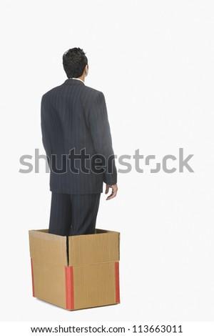 Businessman standing inside a cardboard box
