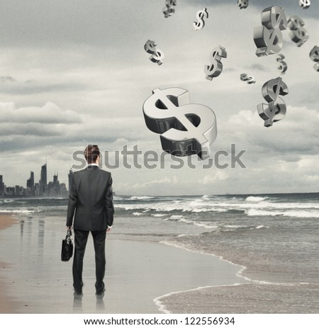 Businessman standing on a beach and  dollar symbol