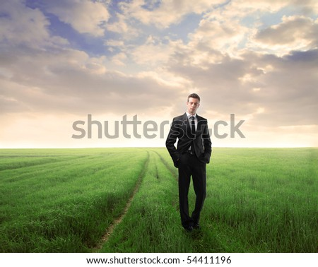 Businessman standing on a green meadow