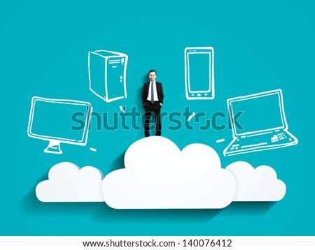 businessman standing on cloud with drawing server - stock photo