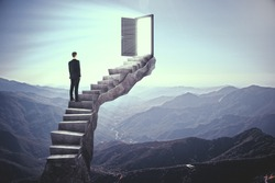 Businessman standing on stairs with abstract open door. Landscape background. Dream, exit and success concept.