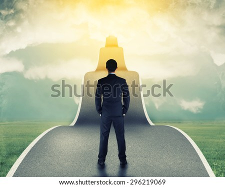 businessman Standing on the road to success in business with copy space .great job,startup business corporate.