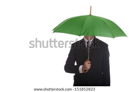 Businessman standing umbrella.